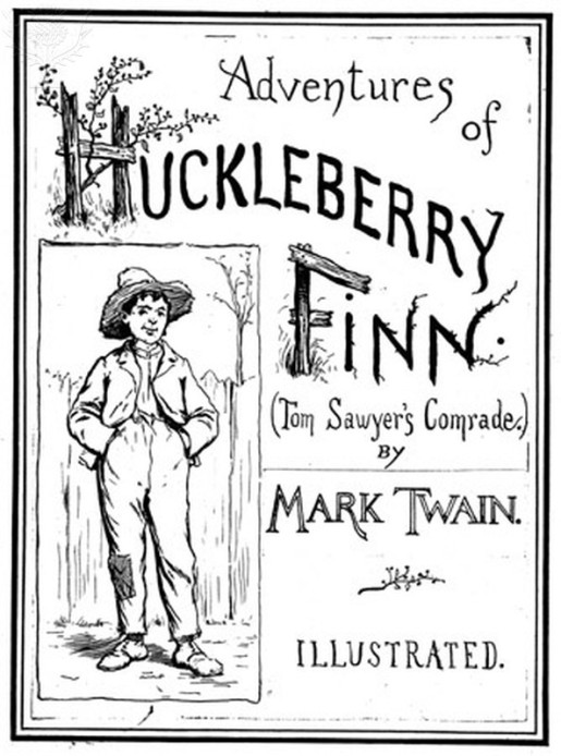 CLEMENS: HUCKLEBERRY FINN.  Cover from the original edition, 1885, with illustrations by E.W. Kemble.