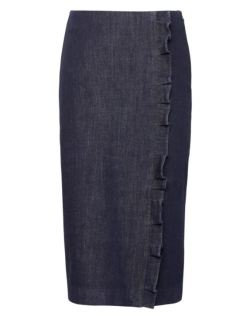 Denim Ruffle Pencil Skirt