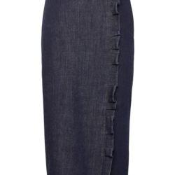 Denim Ruffle Pencil Skirt